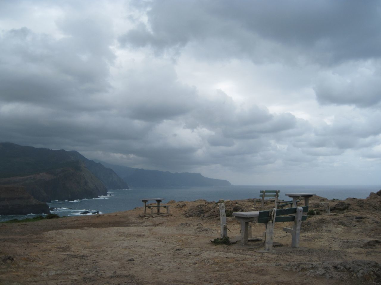 Abandoned Beauty In Nature Cloud - Sky Clouds Day Madeira Mountain Nature No People Outdoors Picknickbench Ponta De São Lourenço Scenics Sea Sky Tranquil Scene Tranquility Water Travel Destinations