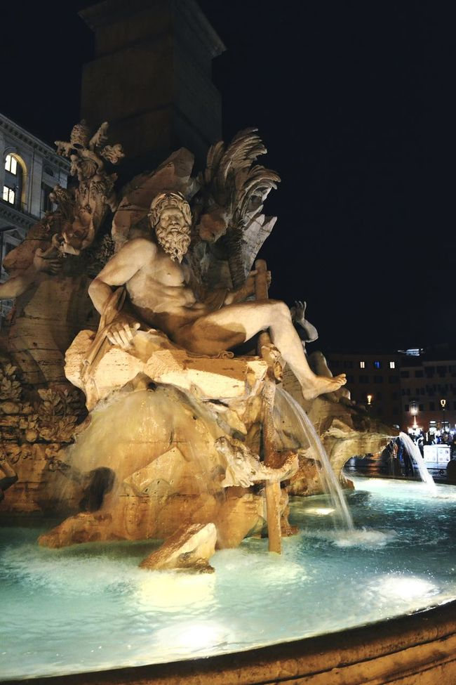 Night Water Sculpture Statue Fountain Illuminated Open Edit Travel Destinations Architecture Travel Photography Rome Italy Art Rome History Culture Fountain Roma Eyeemphotography Walking Around The City