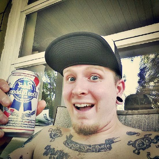Hey look its Mrfyf with Pabstblueribbon Bigsurprise Beer pbr plugs tunnels tattoos