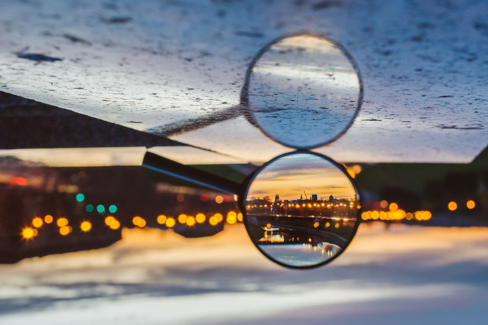 Loupe Architecture City City Close-up Creative Day Drop Focus Loupe Magnifier No People Outdoors Reflection Sky Sunset Water