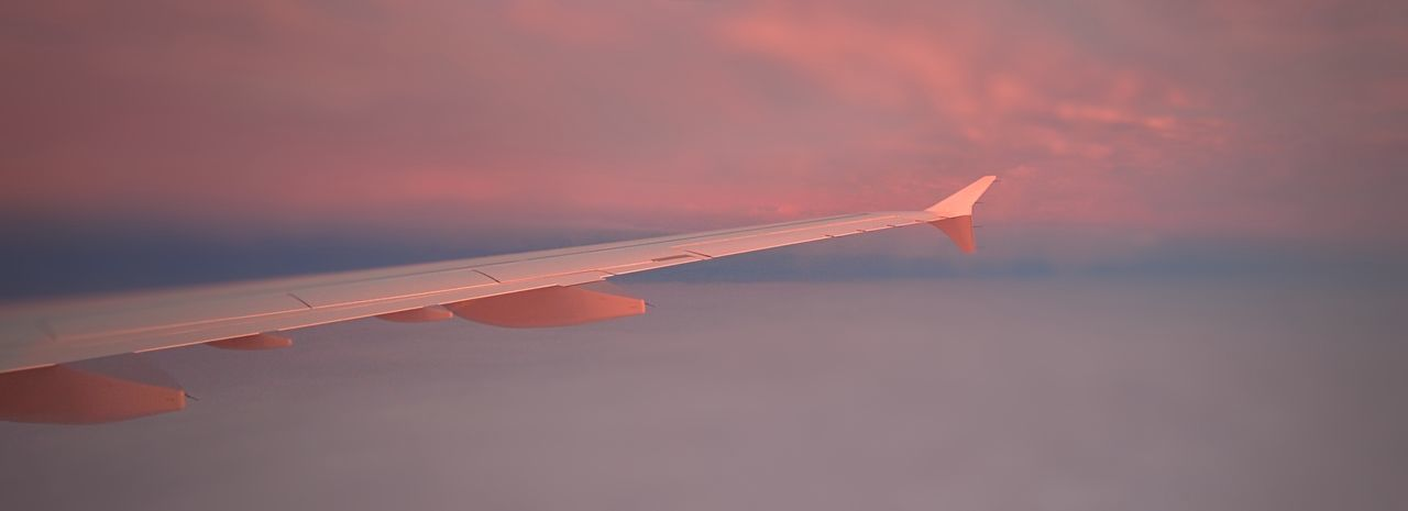 Aircraft Wing Beauty In Nature Close-up Cloud Cloud - Sky Cropped Focus On Foreground Idyllic Nature No People Orange Color Outdoors Part Of Scenics Sky Sunset Tranquil Scene Tranquility