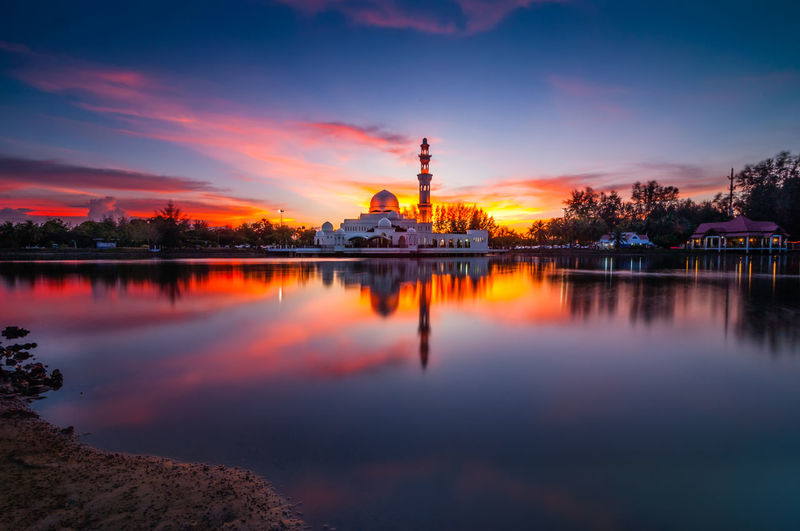Floating mosque Architecture Building Exterior Built Structure Cloud - Sky Famous Place Floating Mosque Illuminated Islam Islamic Architecture Lake Mosque Orange Color Place Of Worship Reflection Religion Scenics Sky Spirituality Sunset Tourism Tranquil Scene Tranquility Travel Destinations Water Waterfront