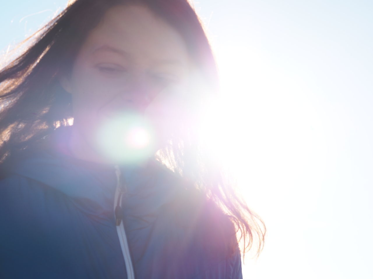 Back Lit Beautiful Woman Beauty Close-up Day Eyes Closed  Headshot Human Body Part Lens Flare One Person One Woman Only One Young Woman Only Only Women Outdoors People Real People Sky Sunbeam Sunlight Woman Woman Portrait Young Adult Young Women