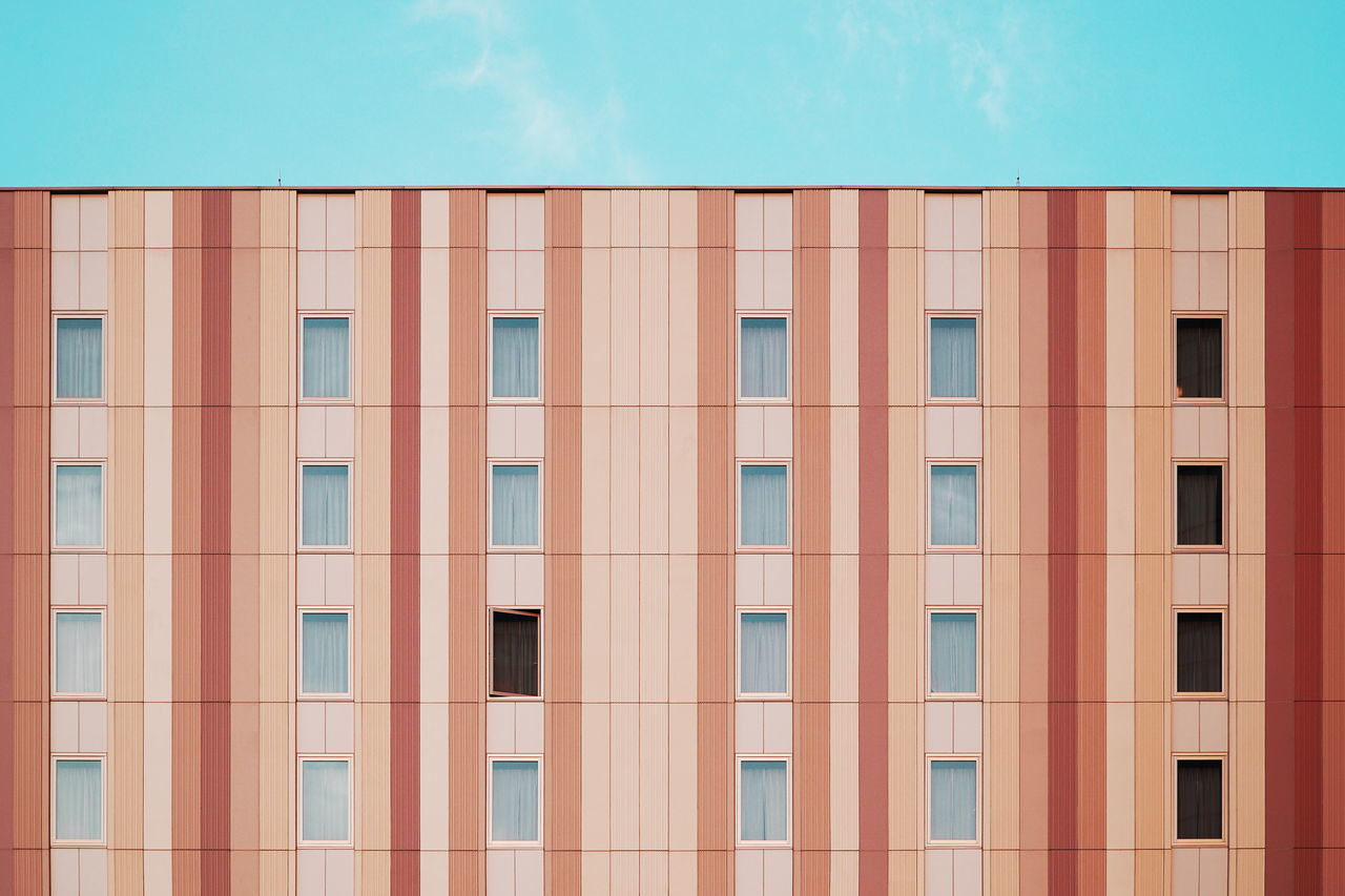 Architecture Architecture Built Structure Colors Façade Geometry Neatly Arranged Stripes Pattern Symmetry Windows