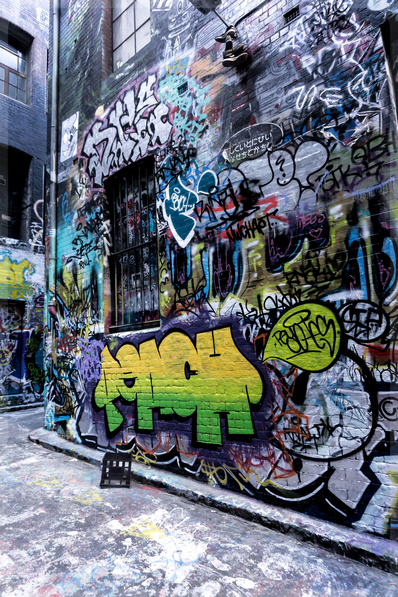 Architecture Art And Craft Australia Building Exterior Built Structure City Clutter Day Graffiti Hosier Lane Melbourne Modern Multi Colored Neon No People Outdoors Painted Image Street Street Art Streetphotography