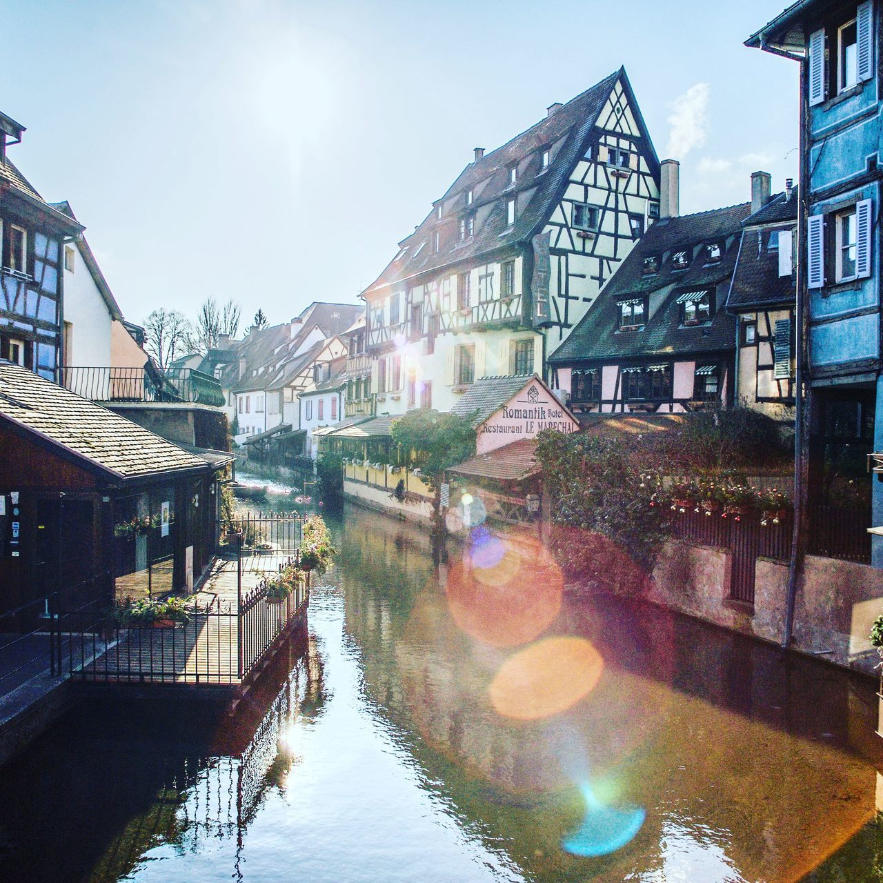 EyeEmNewHere Colmar, Alsace, France City Architecture Water Cityscape Outdoors Lens Flare Sun No People Day Sky