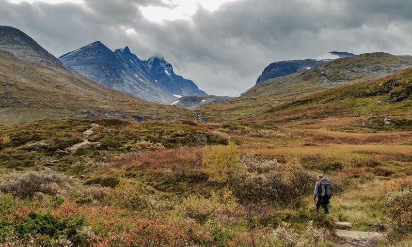 Jotunheimen Hurrungane Man Versus Nature Man Walking From Behind Man Walking Alone Scenic Mountains Norway Solitude Nature Norway Nature Norway