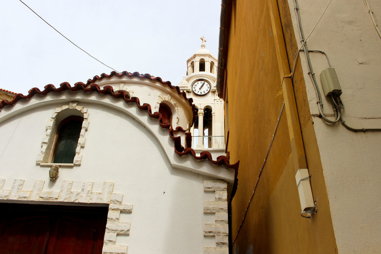 Architecture Building Church Clock Tower Clocktower Day Exterior Façade Greece Historic Lesbos Lesvos Low Angle View Mediterranean  No People Village Village Life White And Yellow Yellow Yellow And White