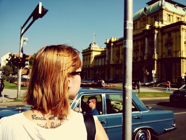 Zagreb Zagreb - Centar Girl Redhairgirl Tattoo Redhair Girlwithtattoos  Streetphotography City Crossroads Trafficlight девушка рыжаядевушка тату уличноефото уличная фотография First Eyeem Photo