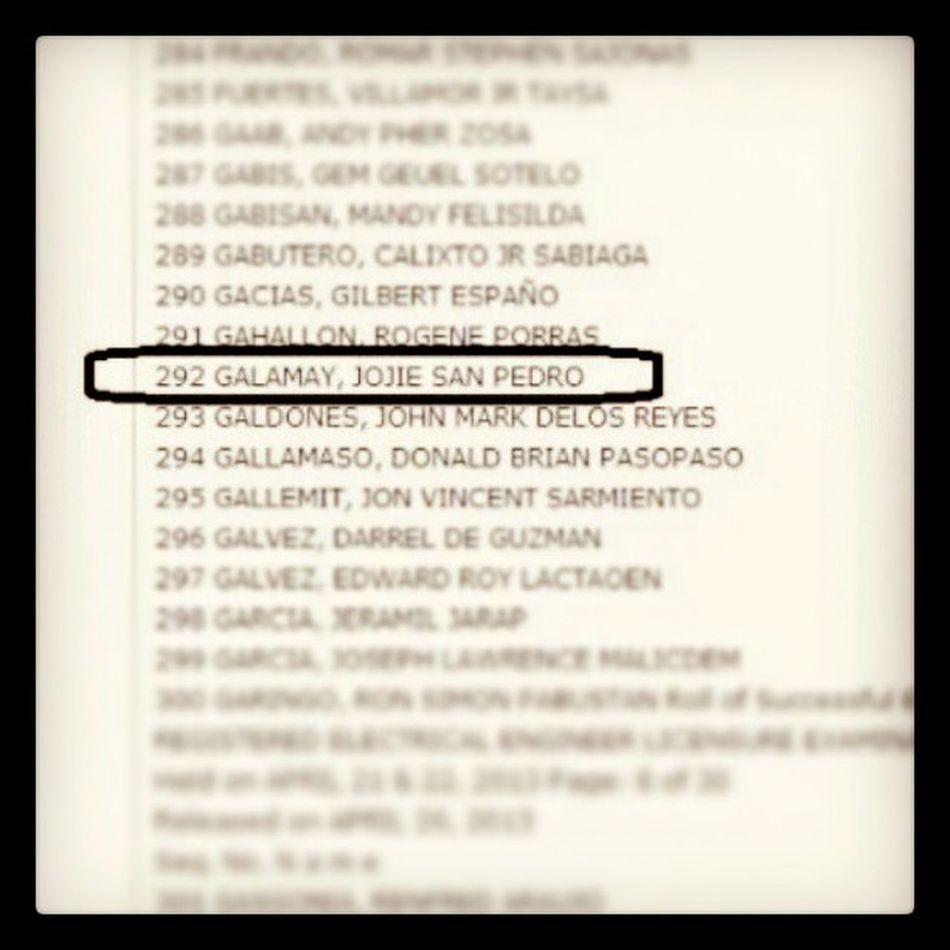 cogratulation tita ENGR. Jojie San Pedro Galamay! We're so proud of you! :-) ElectricalEngineer Boardexam Proud !