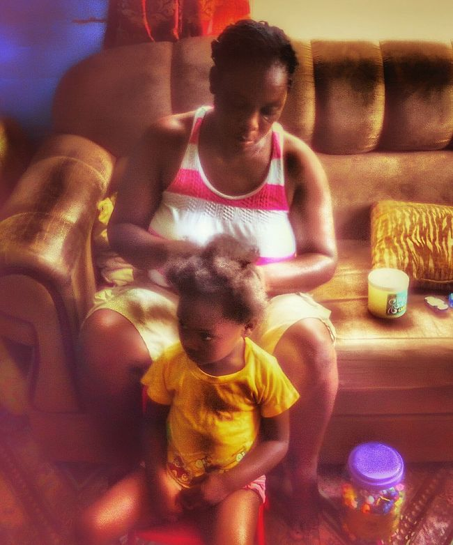 Mother & Daughter Haircare Women Portraits Women Power Girl Power Watching People People Around You People Photography Sitting Around Waiting Plat Welcome To My World Family❤ Light And Shadow Indoor Photography
