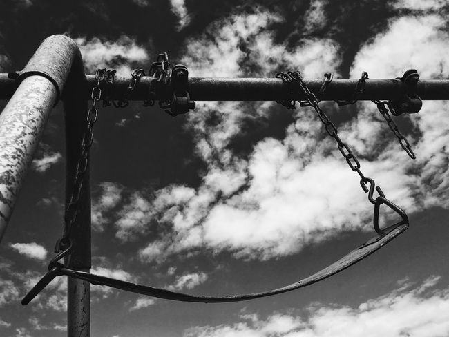 Swing Blackandwhite Clouds And Sky Urban Park Abandoned