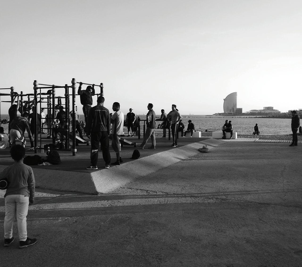 City Outdoors Men Adult Photography Beauty Lifestyles Blackandwhite Kidstaring Weightlifting Barcelona SPAIN Beachphotography EyeEmNewHere