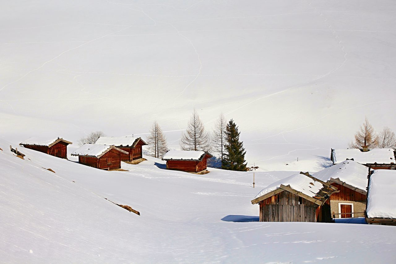 Malga Fane in Vals in late winter - Cold Temperature House Landscape Landscapes With WhiteWall Nature Snow Snow Covered White Color Winter
