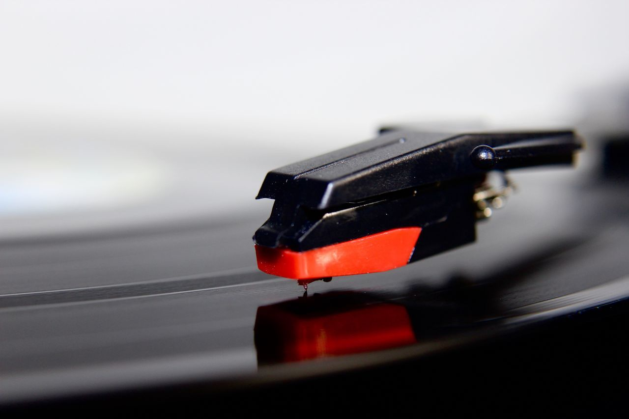 Close-up Day Indoors  Monochrome Music No People Old-fashioned Pop Art Pop Of Color Record Record Player Needle Red Selective Focus Studio Shot Turntable Vintage Vinyl Vinyl Records