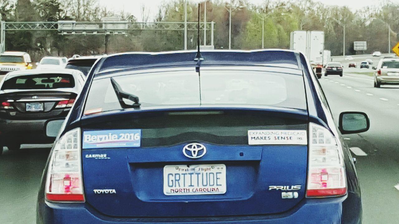 Gratitude Gratitude Bernie2016 Bernie BernieSanders Prius Blue Car Highway