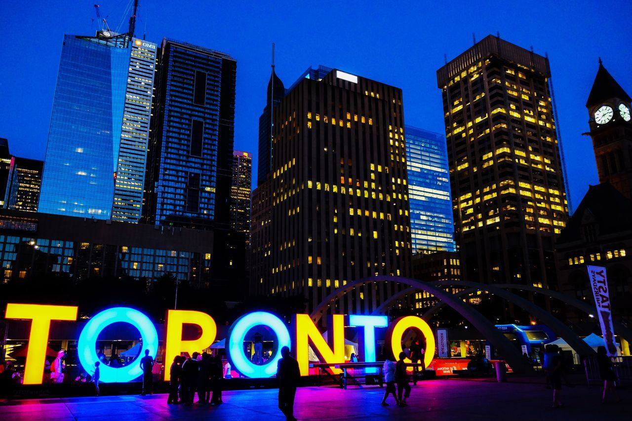 City night City Illuminated Skyscraper Building Exterior Architecture Night Neon Text Urban Landscape Toronto Toronto Landscape Urban Skyline Urban Geometry Signboard Cityscape Neon Lights City Life Architecture Toronto Canada Neon Sign Nightlife Cityscape Welcome To Black