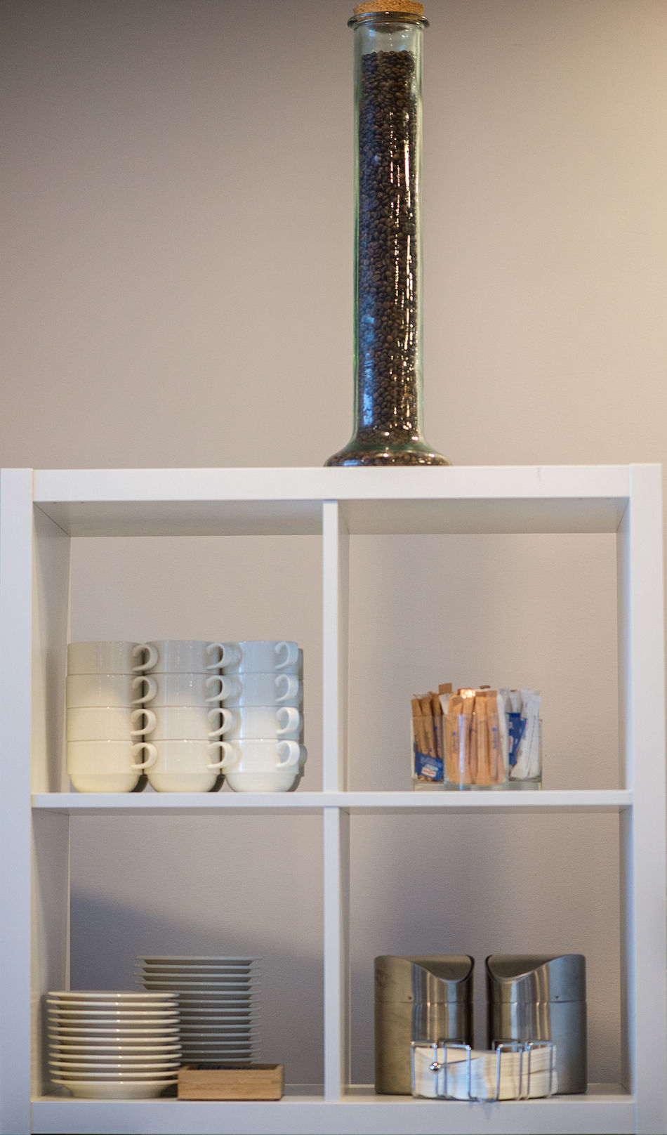 white shelf with kitchen utensils Business Coffy Cups Details Dishes Elements EyeEmNewHere Food And Drink Home Interior Home Showcase Interior Hotel Breakfast Indoors  Interior Interior Design Luxury Minimalism Minimalist Architecture No People Shelf Shelves Tidy Room