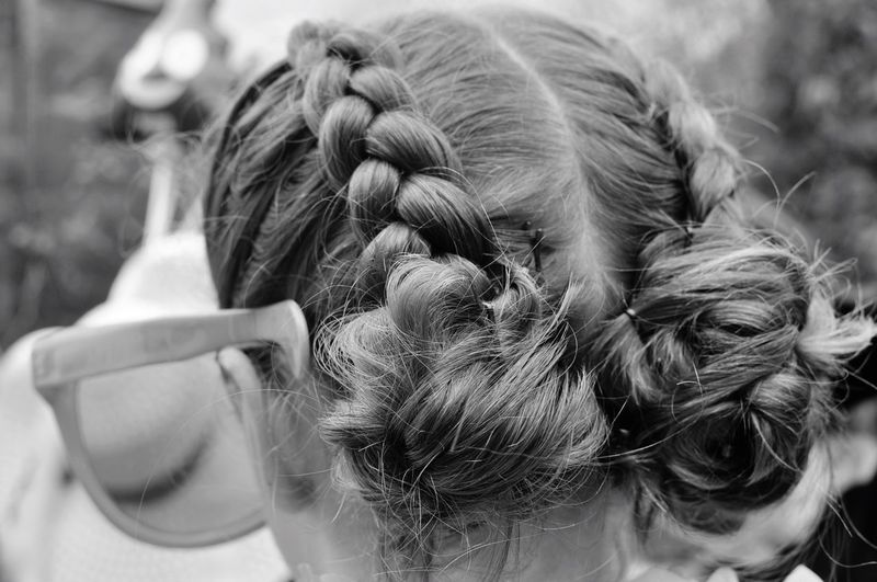 EyeEm Selects Real People Rear View Girls Childhood Human Hair Hair Bun Focus On Foreground One Person One Girl Only Outdoors Headshot Blond Hair Day Braided Close-up Women People