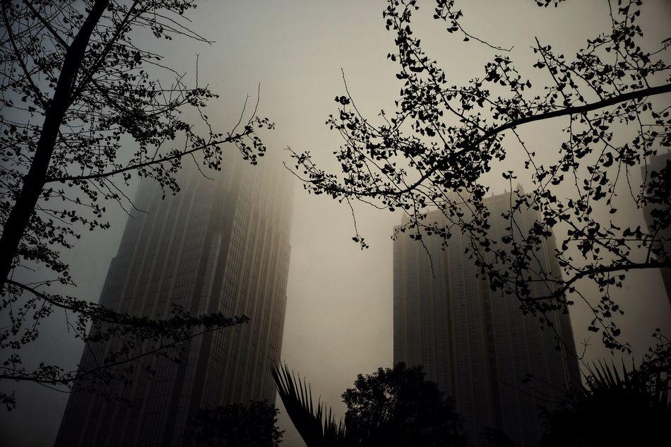 Chengdu China Chengdu City China Fog Foggy Morning Morning Morning Sky, Skycraper