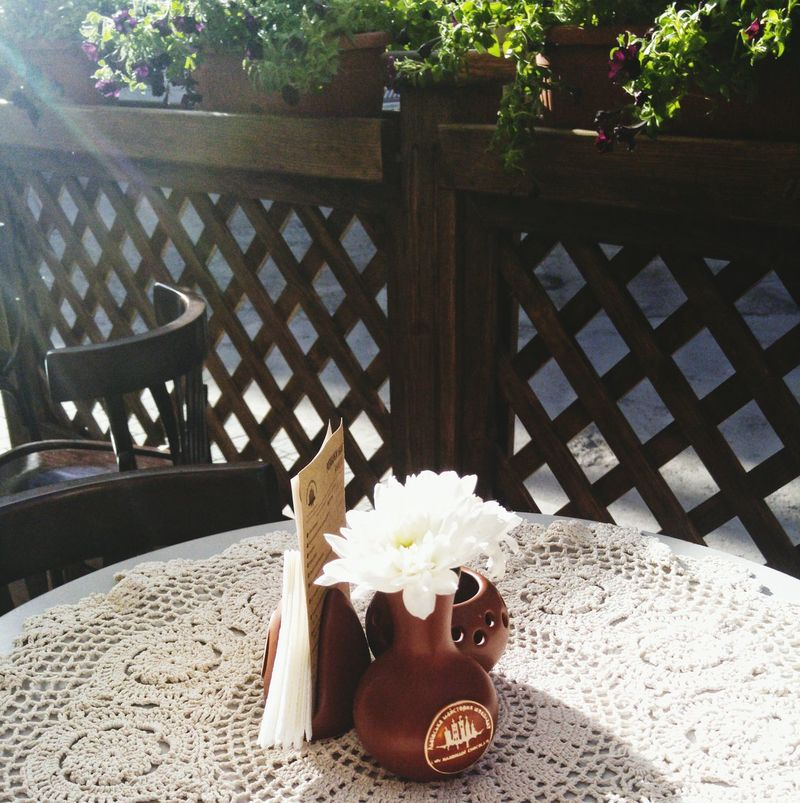 No People Outdoors Wrought Iron Sunlight Flower Table Wood - Material Seat Furniture Nature Freshness Close-up Flower Head Day