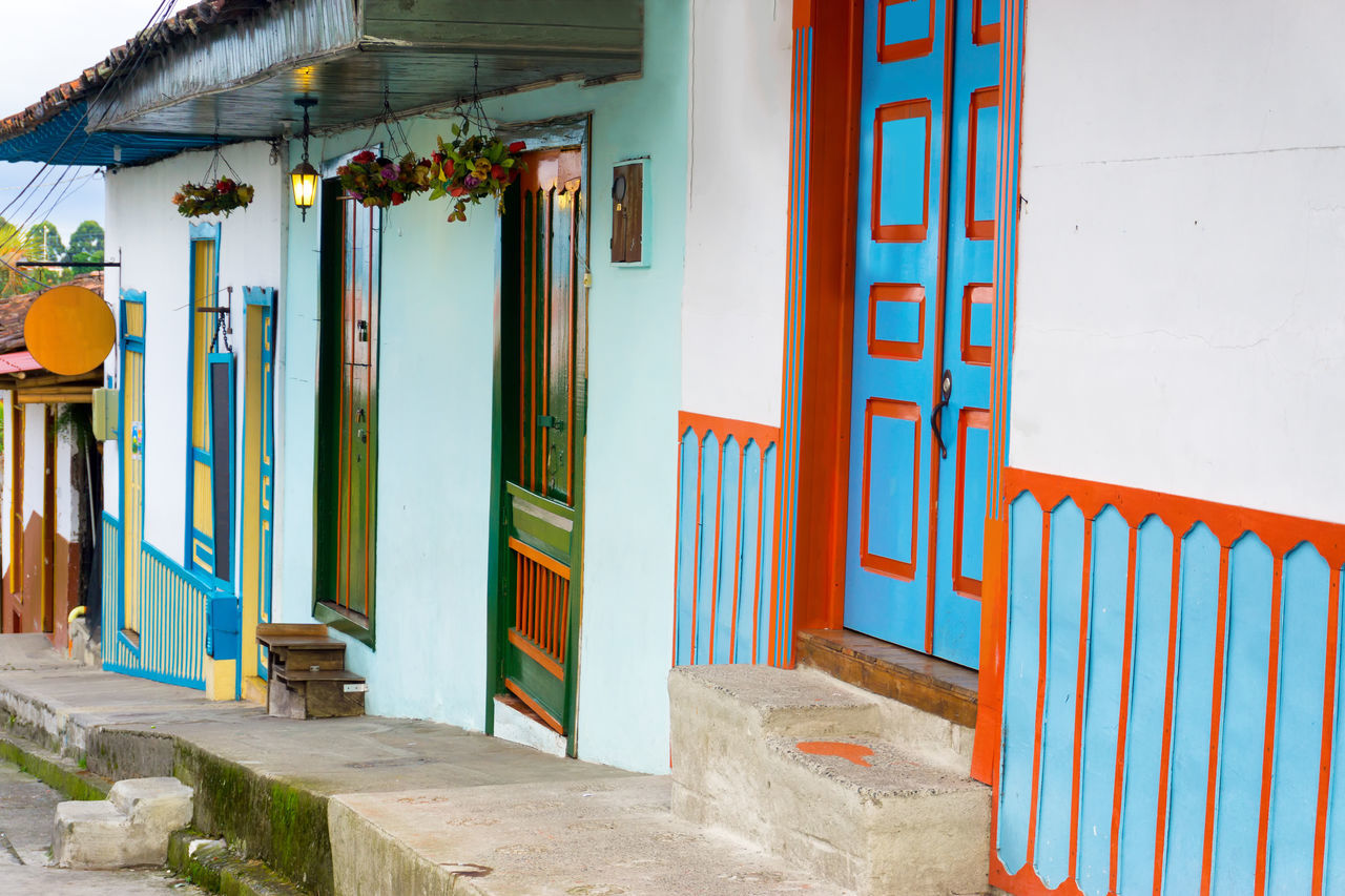 Colorful architecture in the historic town of Salento, Colombia America Architecture Building Built Structure Center City Colombia Colonial Colorful Countryside Culture Door Doors Historic House Landmark Outdoors Quindío Salento South Street Tourist Town Travel Village