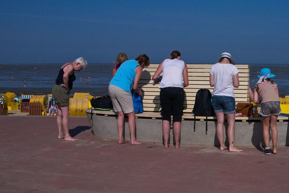 Women starring at the floor Beach Cuxhaven Outdoors Sea And Sky Women
