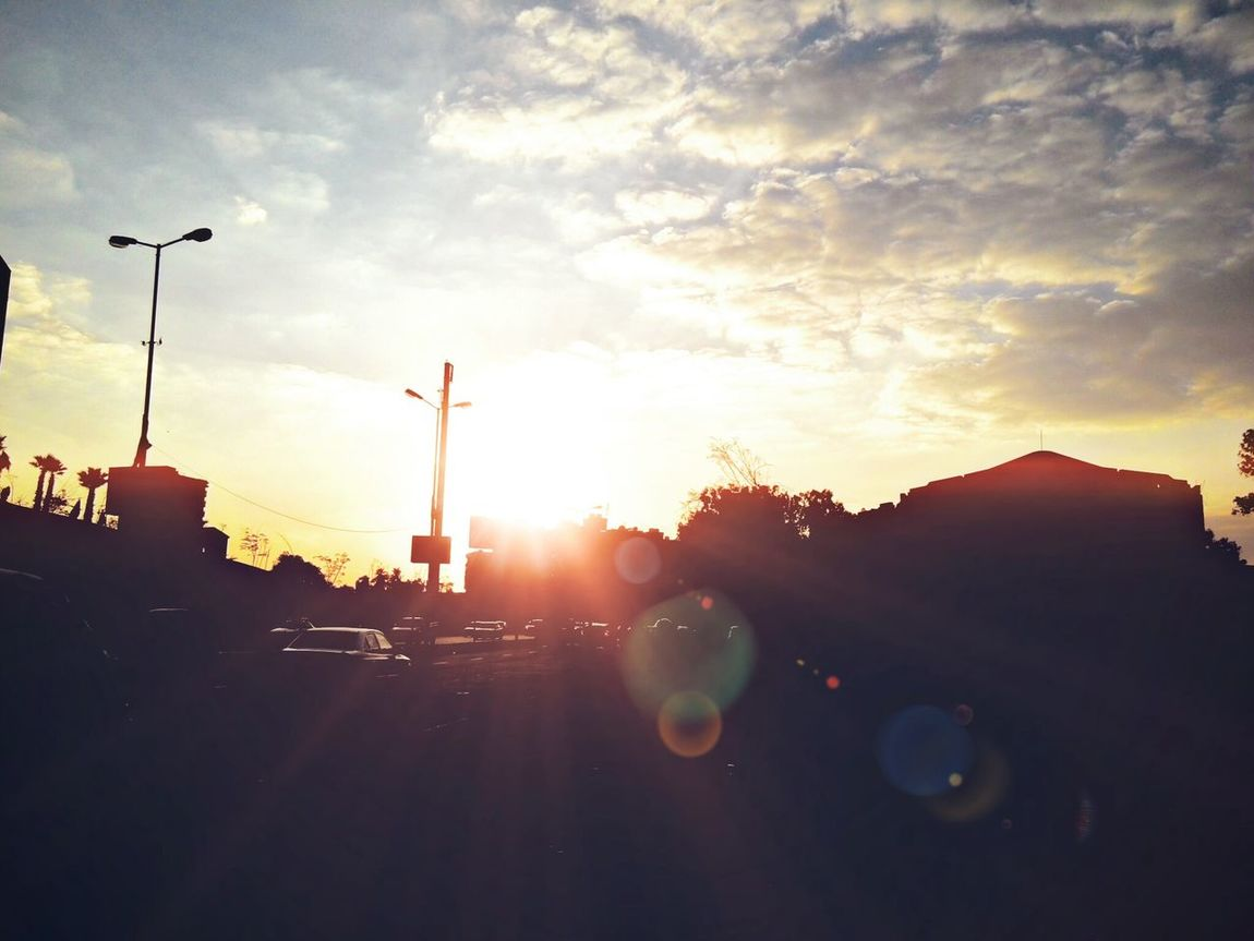 Clouds And Sky Sunset Golden Sunset Daylight :-) Inspirational Amazing View Light And Shadow Cairo Egypt On The Road Lights Sunset Silhouettes LenovoK900 Lenovo Photography Street Photography