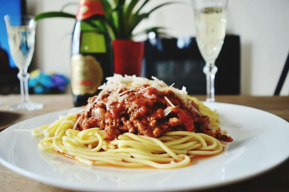 Plate Food And Drink Food Italian Food Spaghetti Bolognese Home Cooking Wine Moments