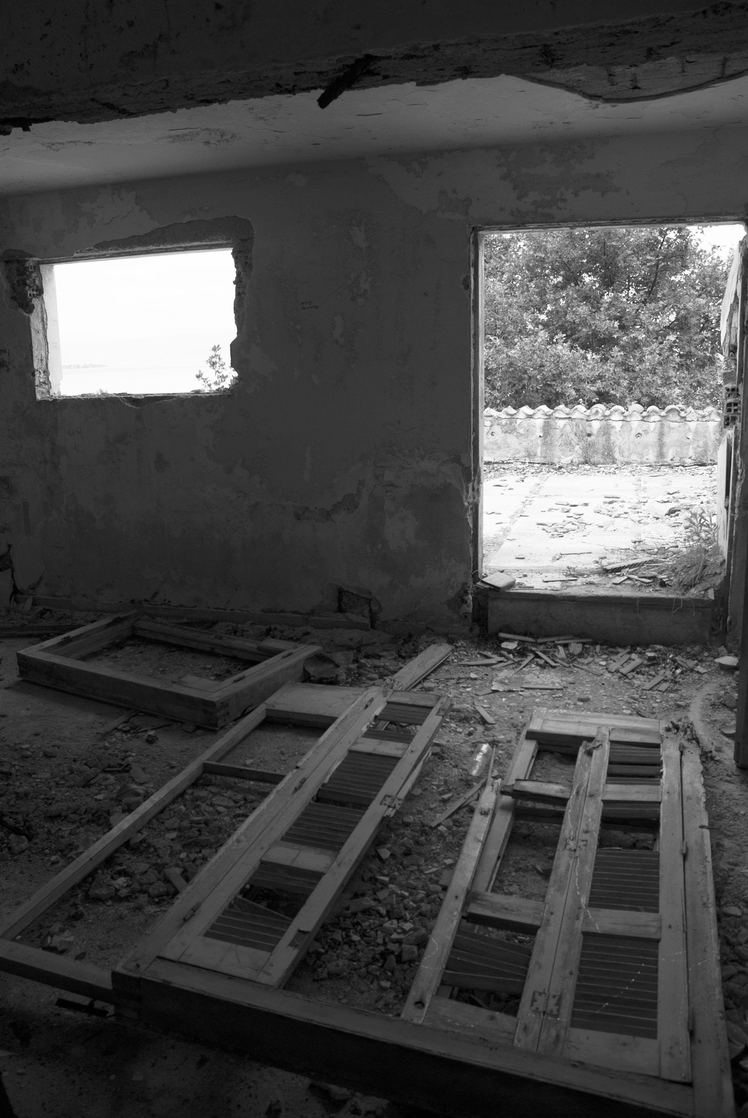 indoors, window, architecture, abandoned, built structure, damaged, obsolete, run-down, house, deterioration, old, interior, wall - building feature, bad condition, glass - material, building, ceiling, day, no people, building exterior