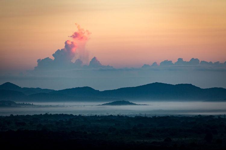 Beauty In Nature Cloud - Sky Dambulla Day Erupting Landscape Lion Mountain Mountain Range Nature No People Outdoors Pidurangala Rock Scenics Smoke - Physical Structure SriLanka Sunbeam Sunrise Sunset Tranquility