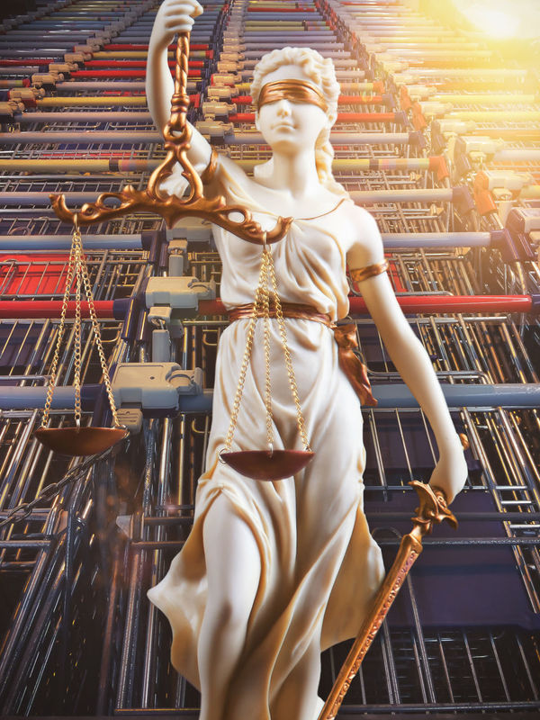 White Justice figure in front of shopping cart - consumer protection Check Directive Ingredients Shopping Shopping Cart Certification Competition Consumer Consumption  Contradiction Customer  Deception Fairness Least Durability Licensing Misleading Packaging Packaging Size Payments Protection Protection Of Children Law Right To Exchange Goods Safety Standards Authority Shopping Statue Trade