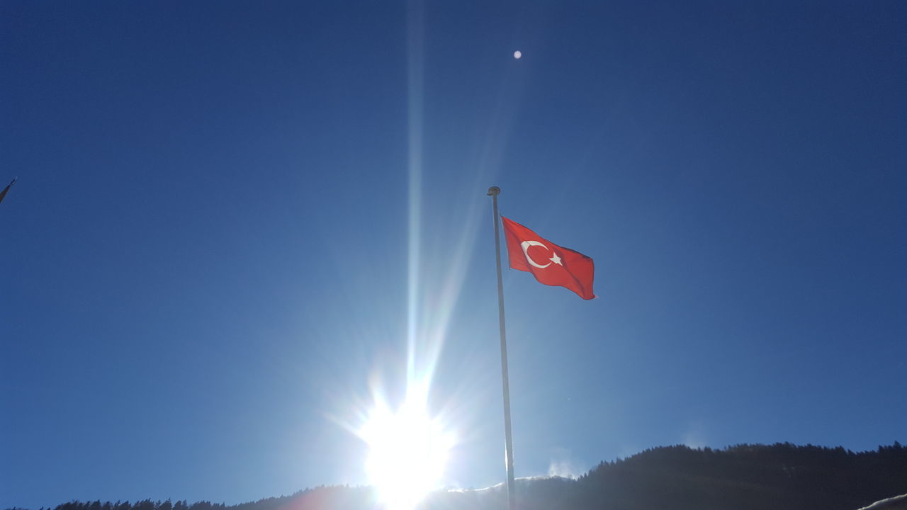 Patriotism Low Angle View Red Flag Blue Sunlight Clear Sky Sky No People Sunbeam Outdoors Day Trabzon Uzungol Turkey Leisure Activity Uzungöl Tranquil Scene Flying Türkiye Turkey Huzur Tranquility Beauty In Nature Scenics Nature Reflection