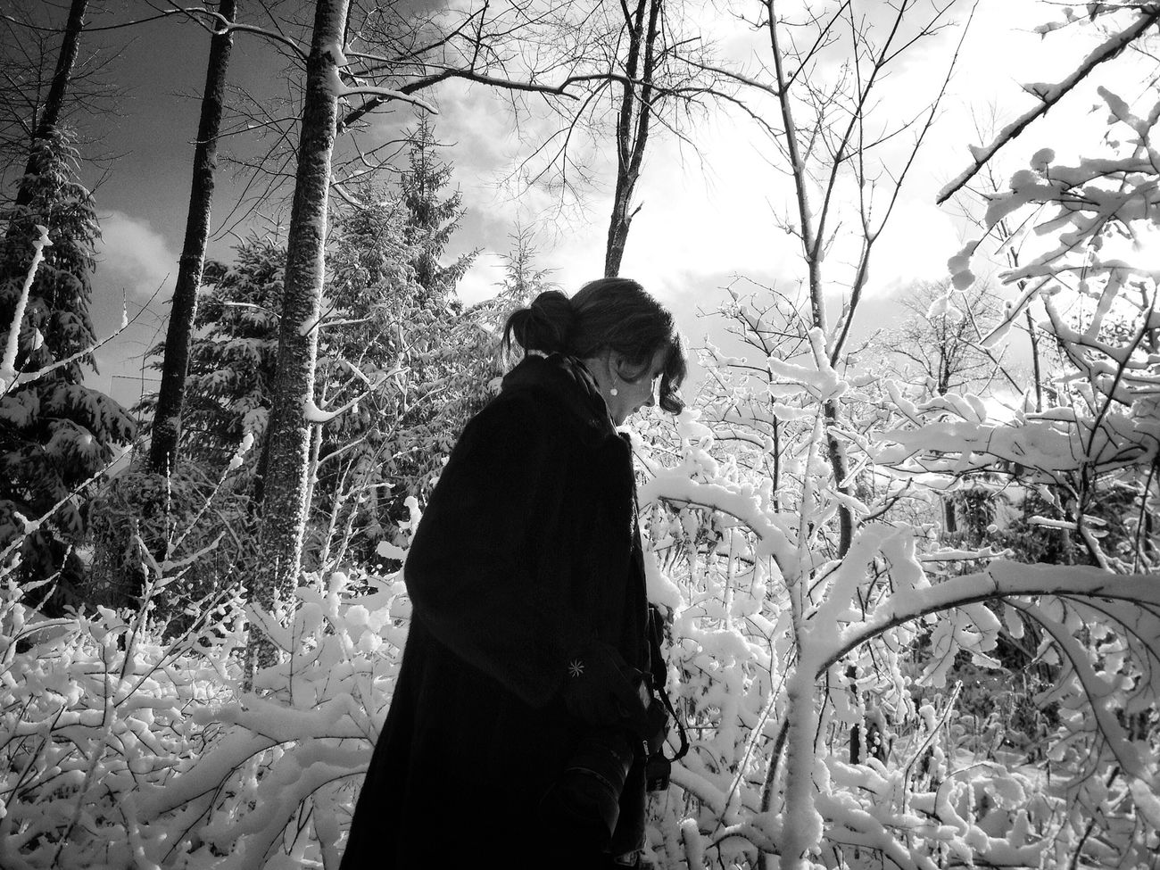 My sister- so wonderful. In the snow. Thanksgiving. Fortheloveofblackandwhite Monochromeart Peace And Quiet Shootermag