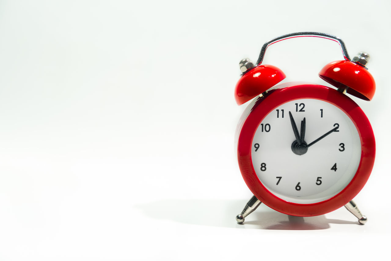 Clock AlarmClock Time Red Deadline White Background Cut Out Isolated Concept Bell