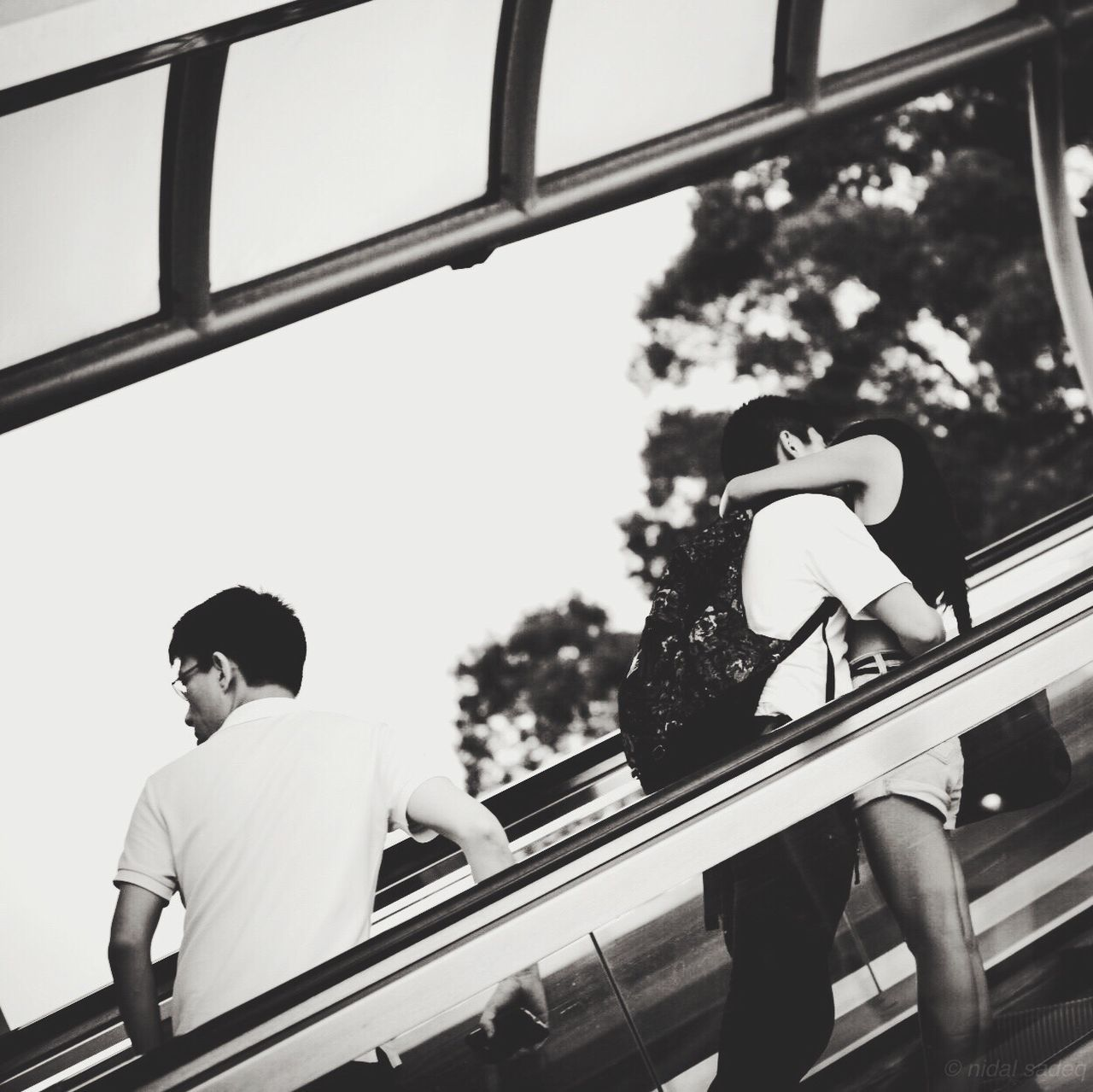 railing, day, transportation, real people, childhood, one person, outdoors, clear sky, sky, tree, close-up, people