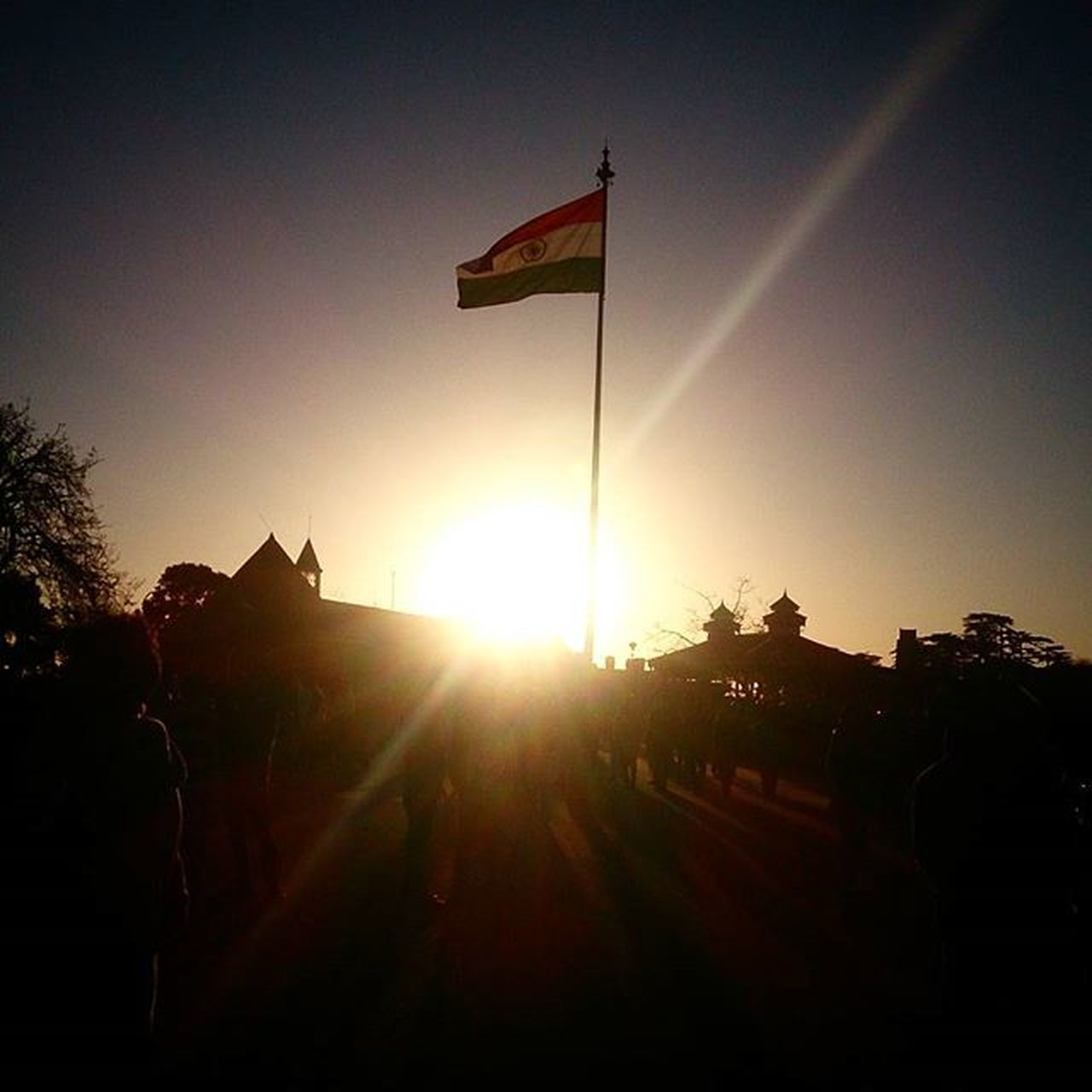 flag, patriotism, sunset, silhouette, outdoors, sky, tree, no people, day