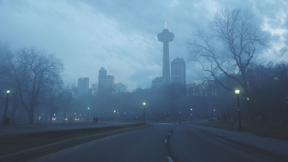 City Architecture Built Structure Building Exterior Tree Sky Tower Outdoors No People Travel Destinations Road Bare Tree Illuminated Traffic Circle Nature Skyscraper Cityscape Day Foggy Niagara Falls Canada Rx100 EyeEmNewHere
