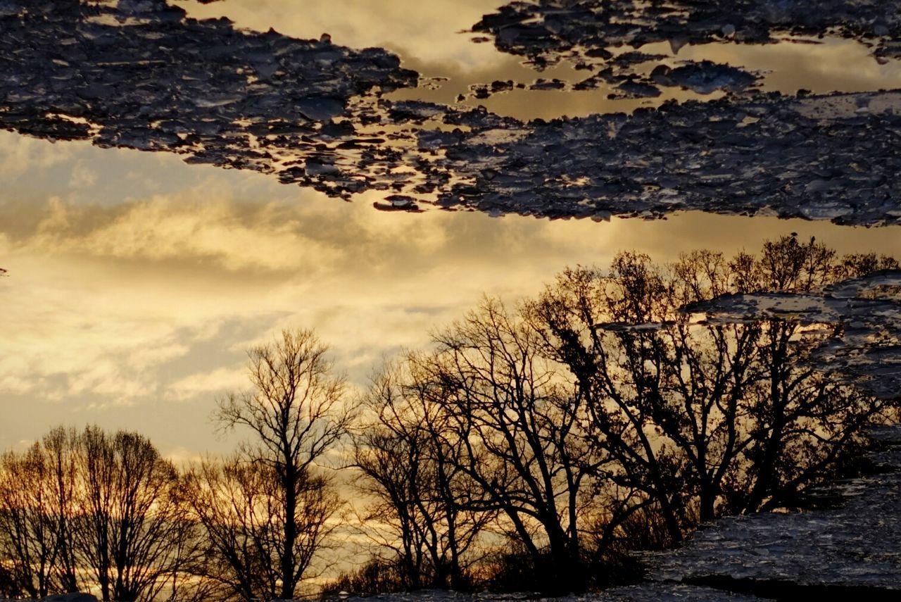 Sunday_flip 180° It's Cold Outside Better Look Twice Silhouette Frozen Sunset Sunset Silhouettes Beautiful Sunset Water Reflections Reflection Showcase: January