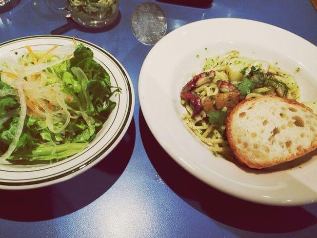 4/8ランチ Lunch Pasta Kyoto 蛸 新ジャガ 新風館 Giraffeカフェ 生パスタ バターソース