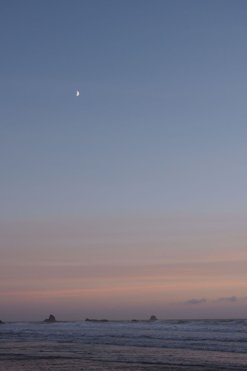 Astronomy Beach Beauty In Nature Crescent Day Half Moon Horizon Over Water Moon Nature No People Outdoors Scenics Sea Silhouette Sky Sunset Tranquil Scene Tranquility Water