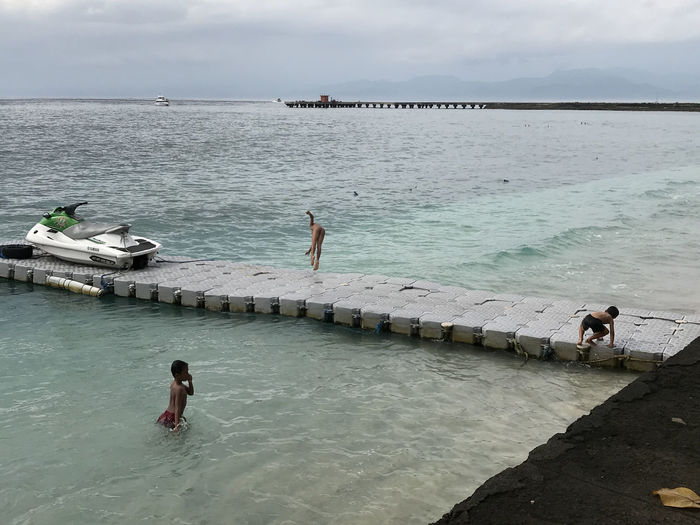 Bali, Indonesia Beauty In Nature Day Horizon Over Water Leisure Activity Lembongan Lifestyles Nature Nautical Vessel Outdoors People Real People Scenics Sea Shirtless Sky Vacations Water