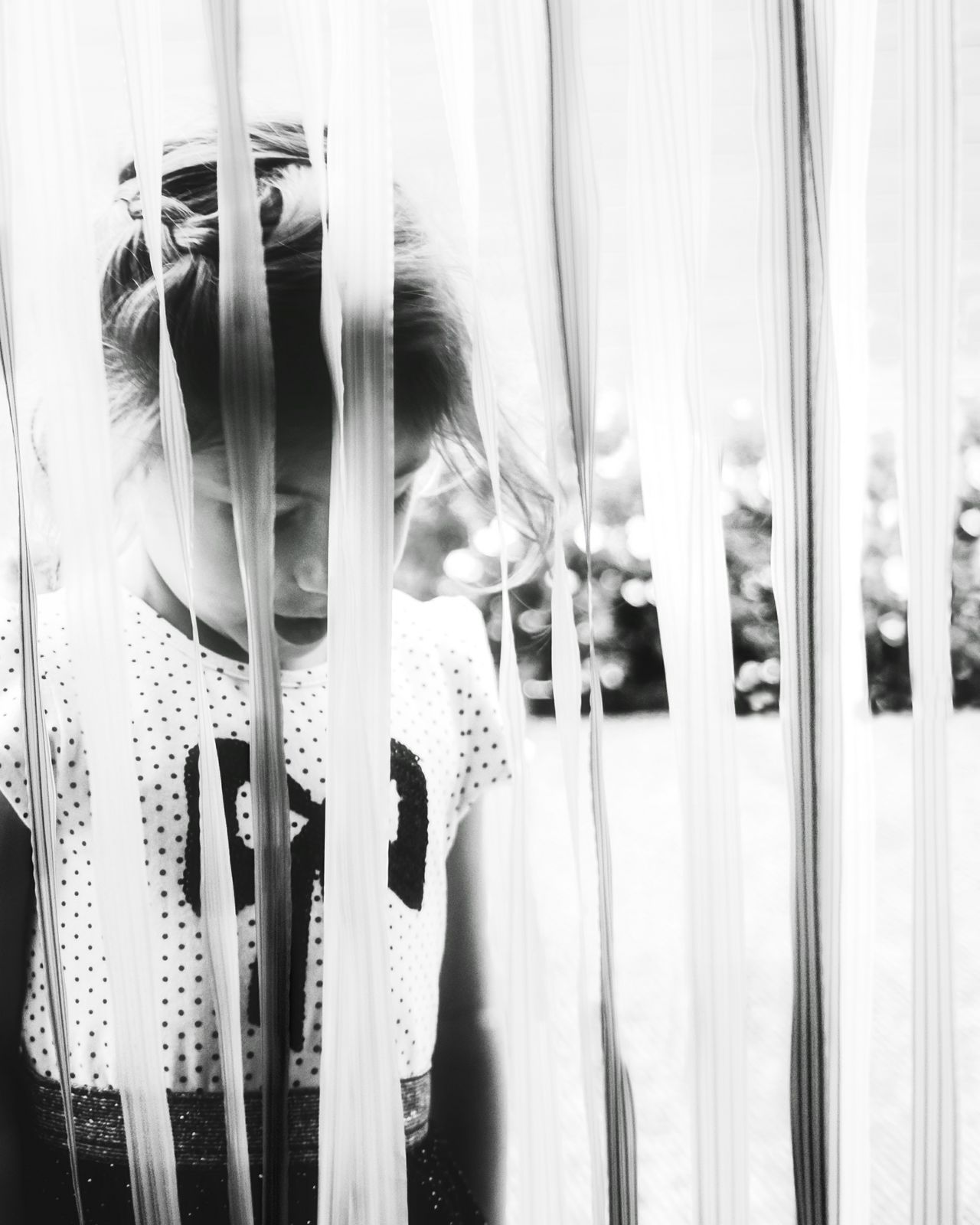 DIVIDED| Curtain Day Close-up Fresh On Eyeem  One Girl Only EyeEm Selects Freshness Lightroom Life Summer EyeEm Gallery EyeEm Best Shots EyeEm Best Edits Outdoors People Beauty Childhood Girls Portrait Child Closeup Headshot Blackandwhite Black And White