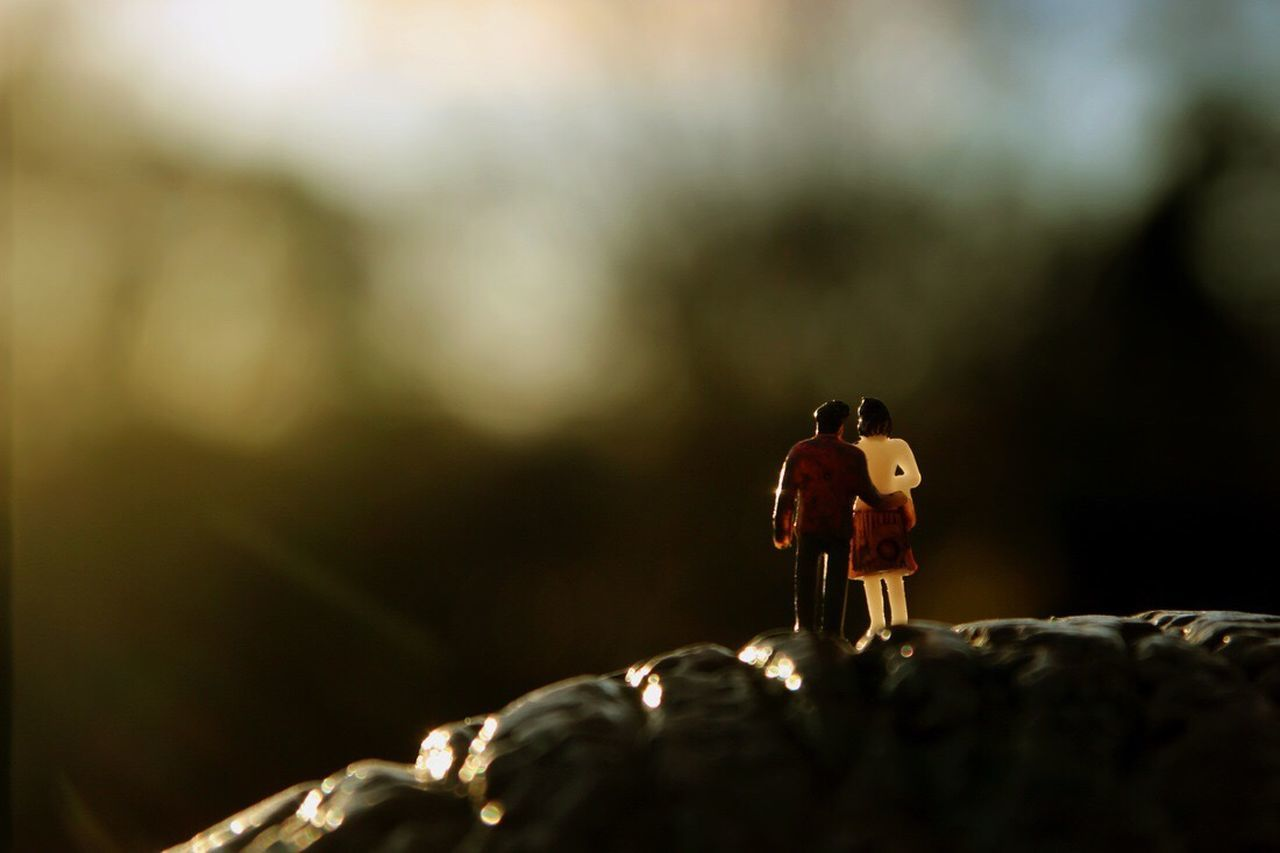 Figurine  Close-up Nature Outdoors Day Miniature Tiny People Tiny People In Big Places Tiny Planet Miniature World Figurine  Couple Watching The Sunset Hug Traveling Home For The Holidays