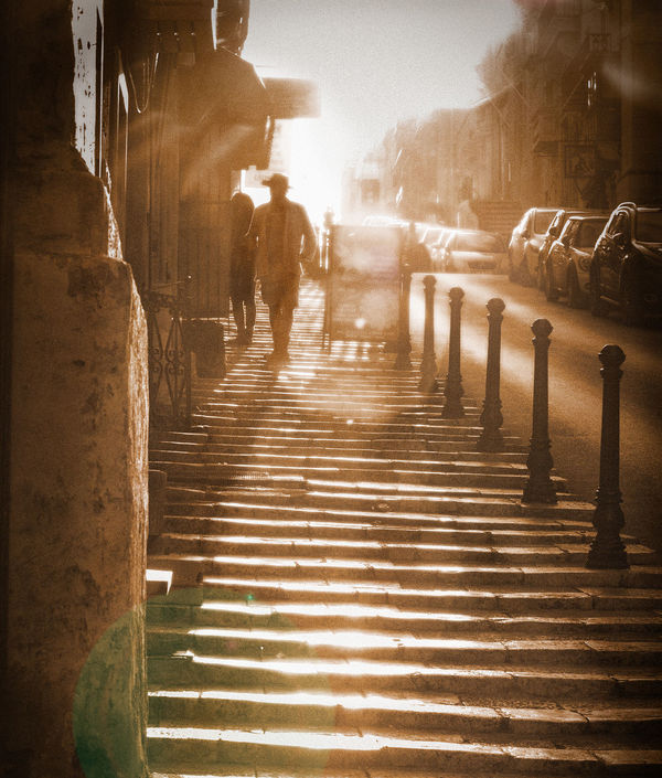 Valletta back street Atmosphere Bro Brown Day Diagonal Lith Lithography Mood Outdoors People Real People Stairs Street Photography Streetphotography