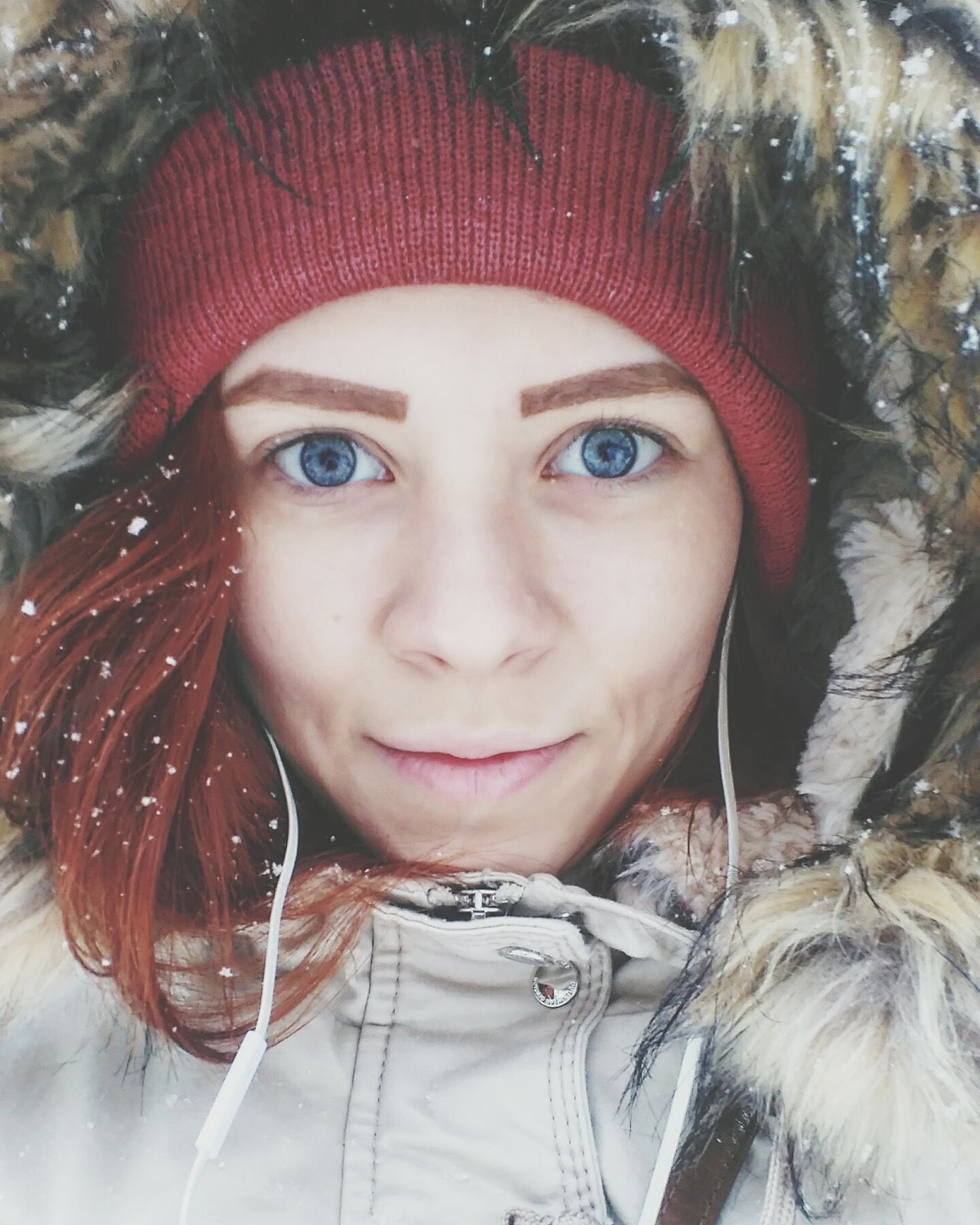 girlautumn winter blue eyes first snow happy smile with love just me Portrait Looking At Camera Front View Young Women Young Adult One Person Close-up Outdoors Winter Headshot Leisure Activity Day Beautiful Woman One Young Woman Only Warm Clothing Adult Adults Only People
