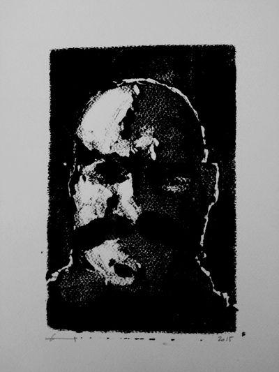 """Autoportrait - monotype 2015 - exposition """"le freak, c'est chic"""" - labo DTF"""