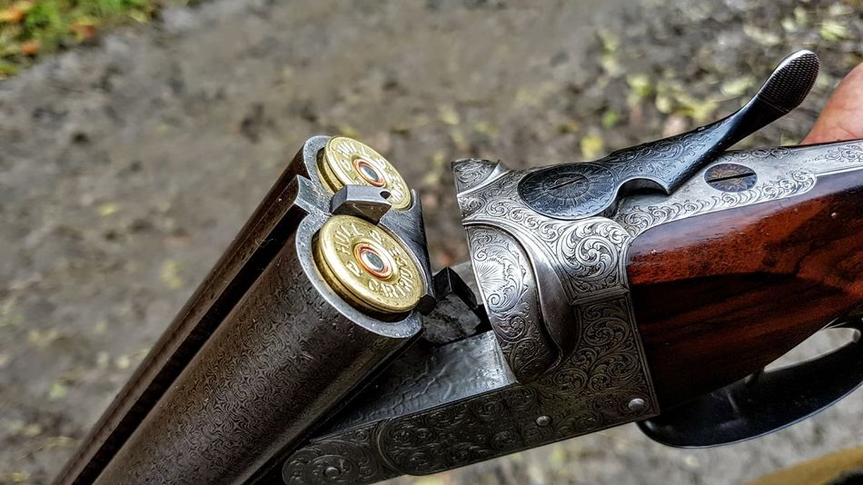 Beauty Bullets Cartridge Carve Close-up Day Gun High Angle View Hunting No People Outdoors Pedal Shotgun
