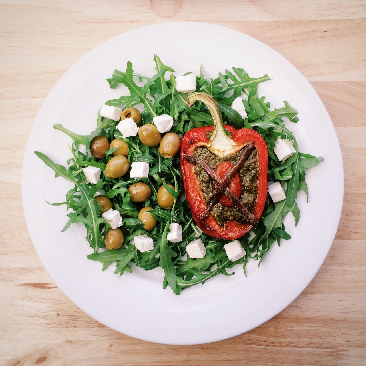 Beautiful stock photos of vegetables, Arugula, Cottage Cheese, Directly Above, Food