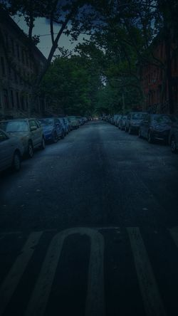 Darkness Cometh Night Fall Street Photography Perspective Neighborhood The Block Black Pavement Cars Parked Headlights Summer Nights Quiet No People Street Dark Trees Darkness Oncoming Traffic Brownstones